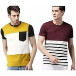 {Pack Of 2) Stylesmyth Multicolor Round Neck 100% Cotton Casual T-Shirts
