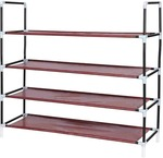 House of Quirk 4 Layer Metal Shoe Rack Portable Foldable Shoe Stand Metal Collapsible Shoe Stand  (Maroon, 4 Shelves)
