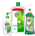 Dettol Handwash Original 900 ml with Dettol Sanitizer Original 200 ml and Dettol Kitchen Gel Lime 750 ml