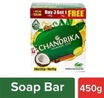 (back)Chandrika Ayurvedic Soap, 125g (Pack of 3) with Free 75g @62