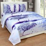 Super India 3D Printed 180 TC Polycotton Double Bedsheet with 2 Pillow Covers - White