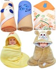 Brandonn Newborn Value Hamper Pack Of 5 Hooded Baby Blankets For Babies-Multicolored for 299