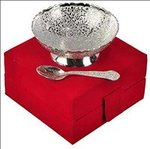 Handicraft Hub India German Silver Bowl & Spoon for Gift Set of 2 | Silver