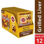 Pedigree Meat Jerky Adult Dog Treats, Grilled Liver Flavour, 80 g (Pack of 12)