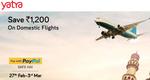 Yatra Paypal Payday sale - save upto 1200 on flights