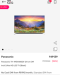 Panasonic TH-49EX480DX 124 cm (49 Inch) Ultra HD LED TV (Black) 56% off + extra discount offers