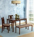 Artois Four Seater Dining Set with Bench & Two Chairs in Dark Walnut Finish by HomeTown