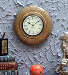 Gold Finish Pine Wood & Brass Wall Clock by D'Dass 87%OFF