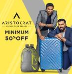 Min 50% off on Aristocrat bags and luggages